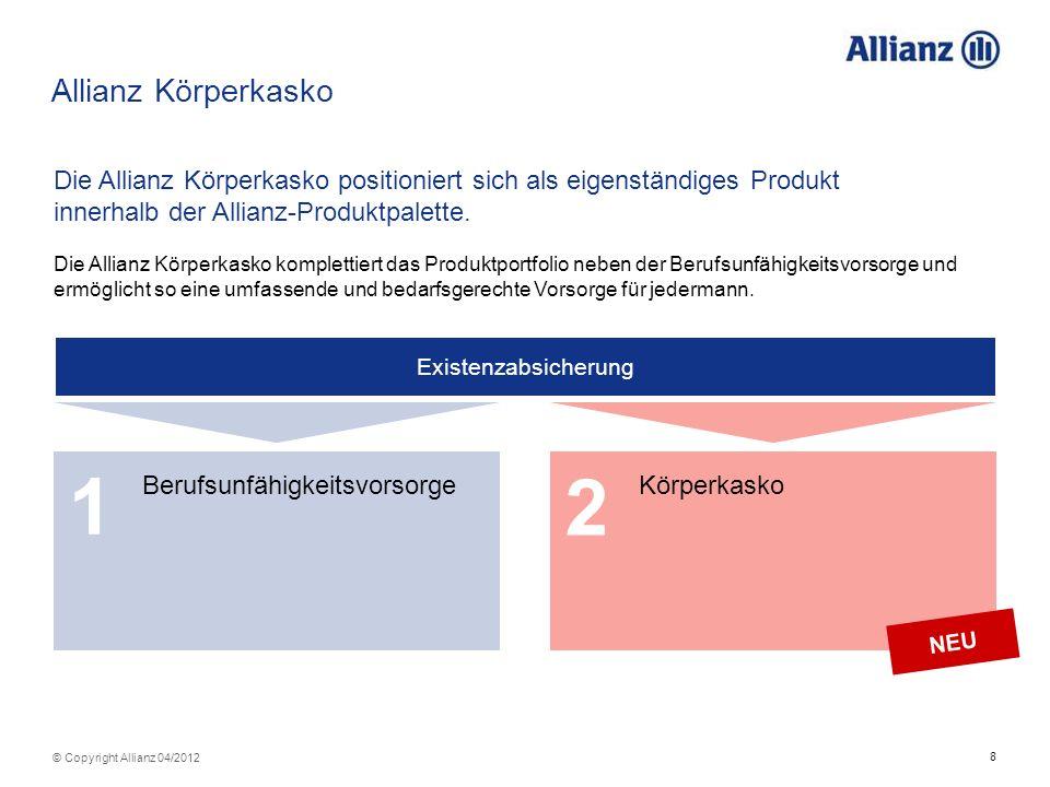 Allianz Körperkasko Die Allianz Körperkasko positioniert sich als eigenständiges Produkt innerhalb der Allianz-Produktpalette.