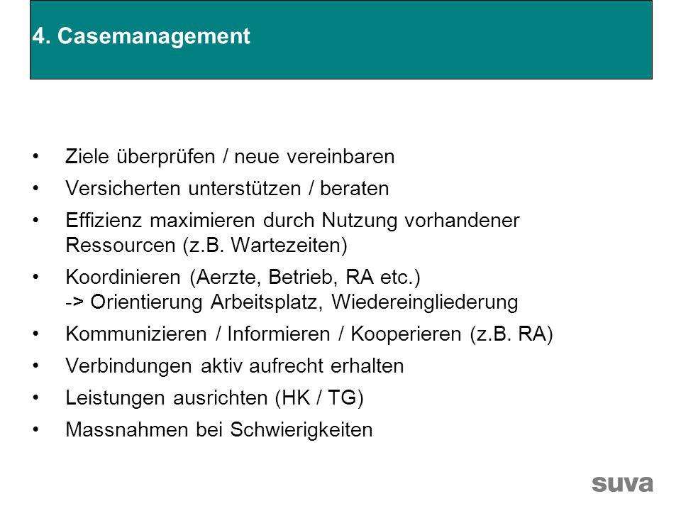 4. Casemanagement Ziele überprüfen / neue vereinbaren