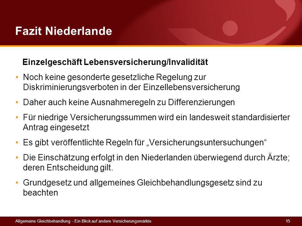 Fazit Niederlande Einzelgeschäft Lebensversicherung/Invalidität