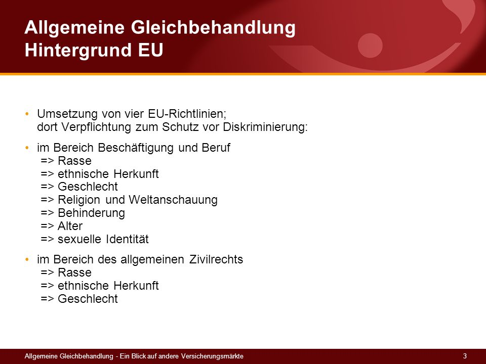 Allgemeine Gleichbehandlung Hintergrund EU