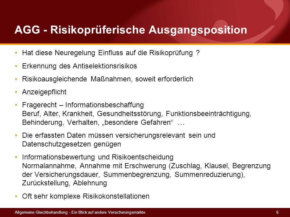 AGG - Risikoprüferische Ausgangsposition