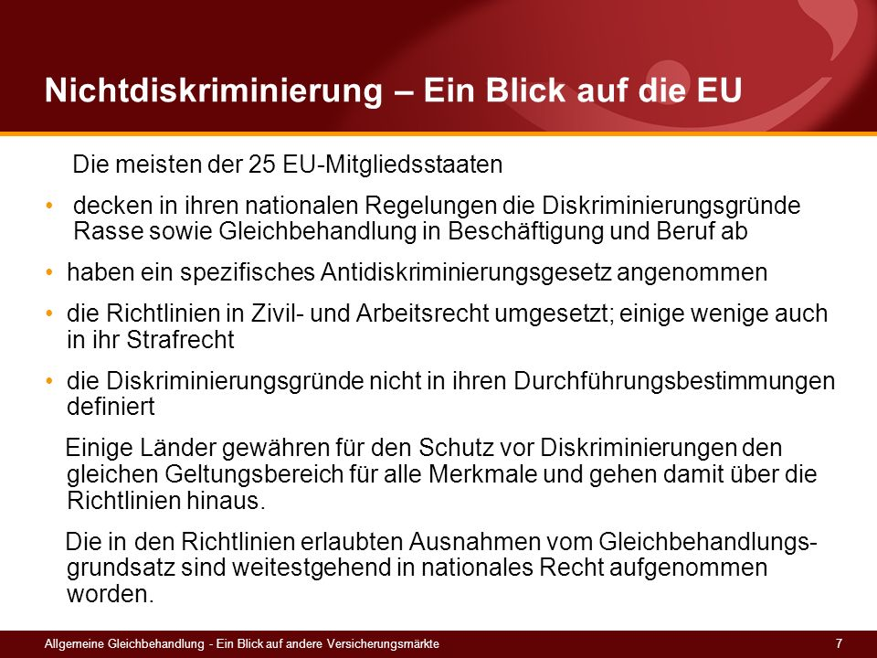 Nichtdiskriminierung – Ein Blick auf die EU