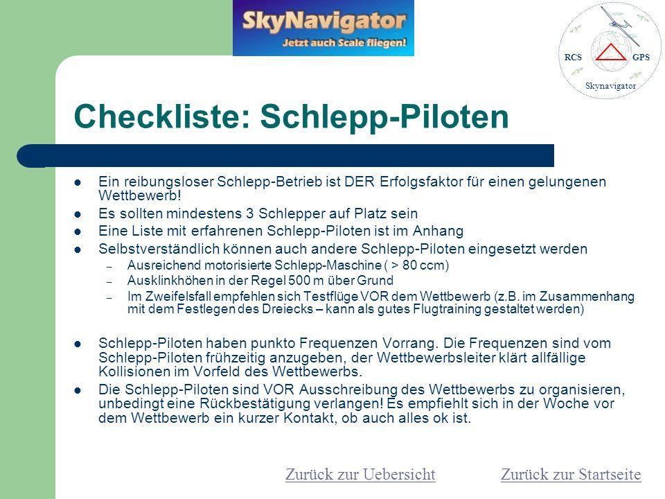 Checkliste: Schlepp-Piloten