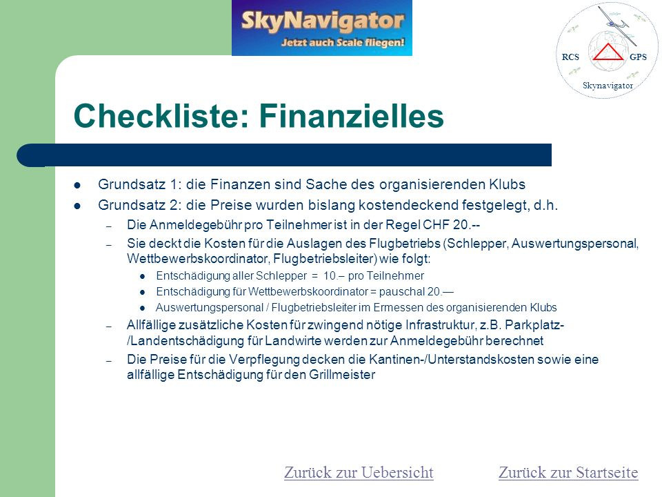 Checkliste: Finanzielles