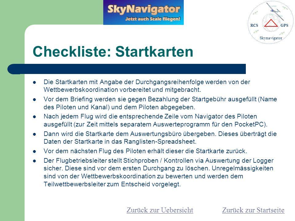 Checkliste: Startkarten
