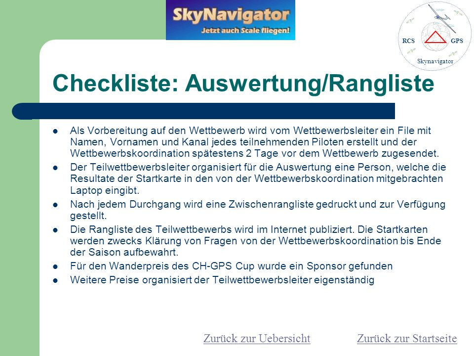 Checkliste: Auswertung/Rangliste