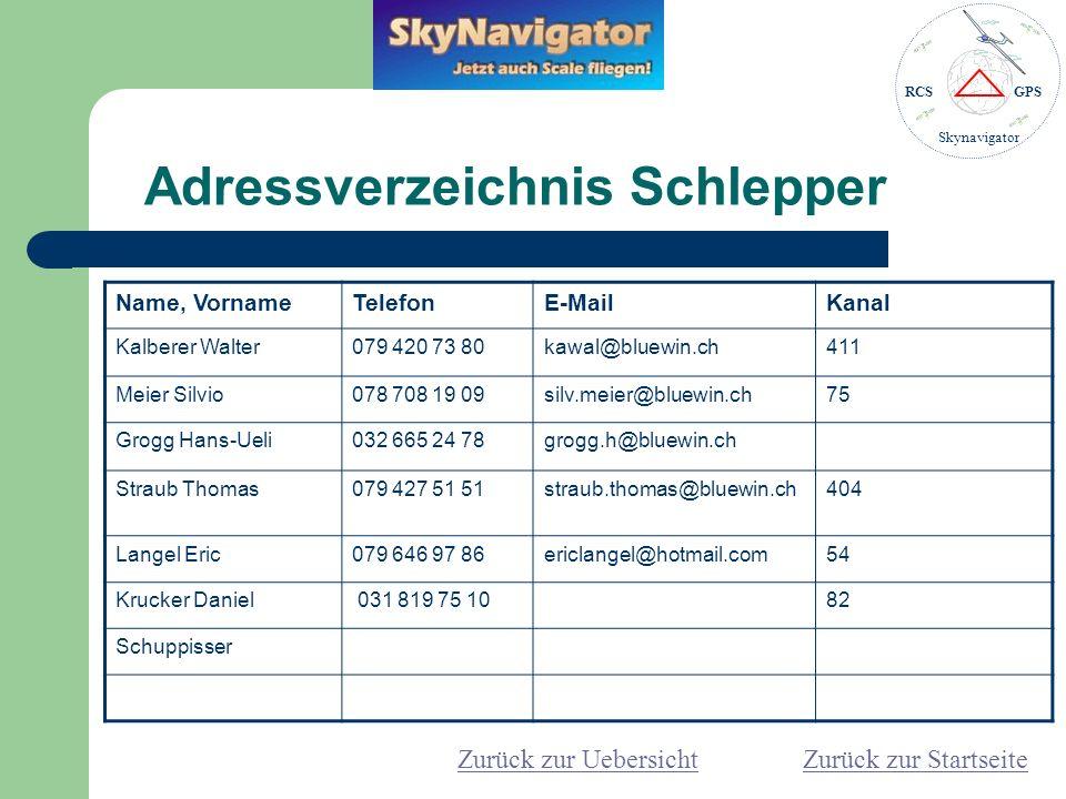Adressverzeichnis Schlepper