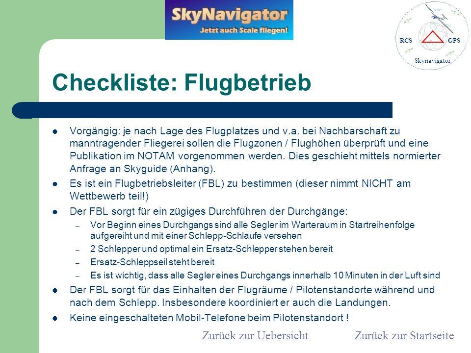 Checkliste: Flugbetrieb
