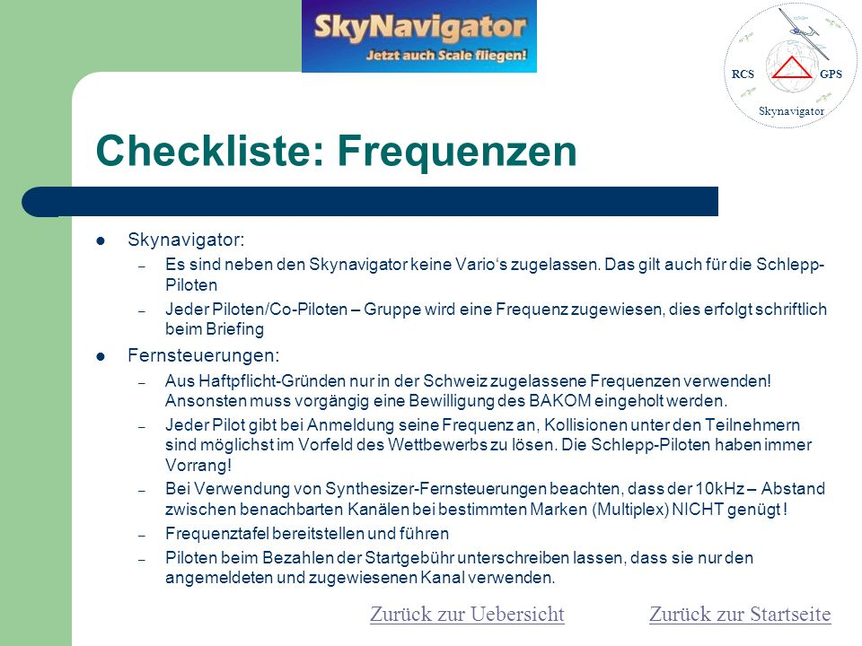 Checkliste: Frequenzen