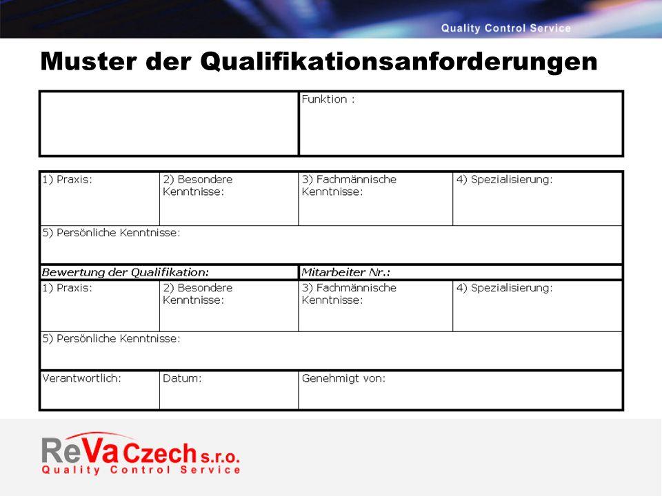 Muster der Qualifikationsanforderungen