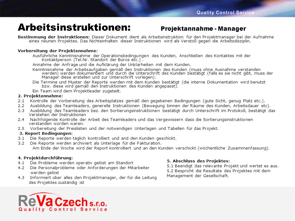 Arbeitsinstruktionen: Projektannahme - Manager