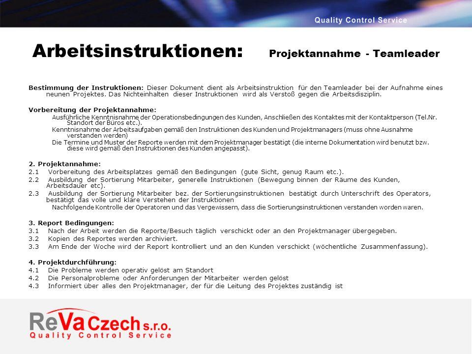 Arbeitsinstruktionen: Projektannahme - Teamleader