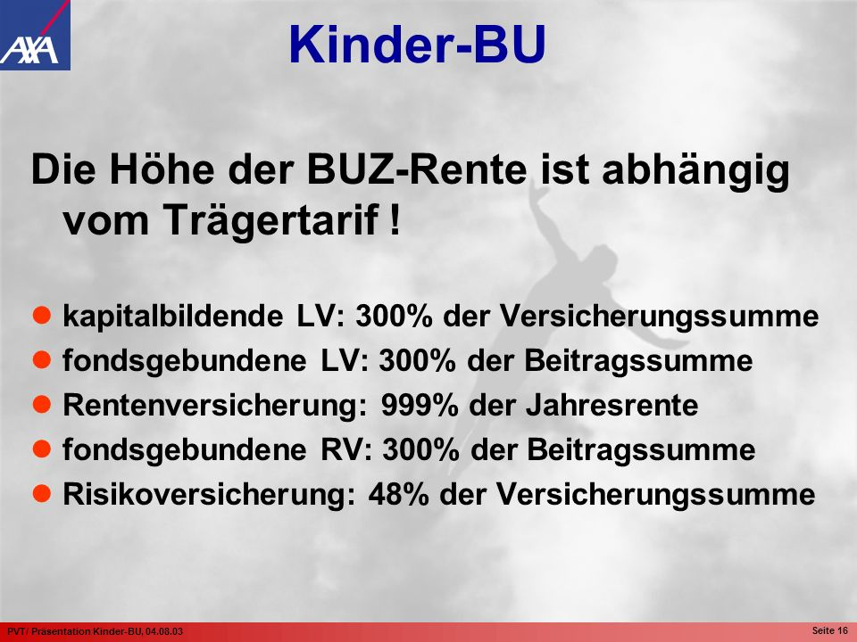 Die Höhe der BUZ-Rente ist abhängig vom Trägertarif !