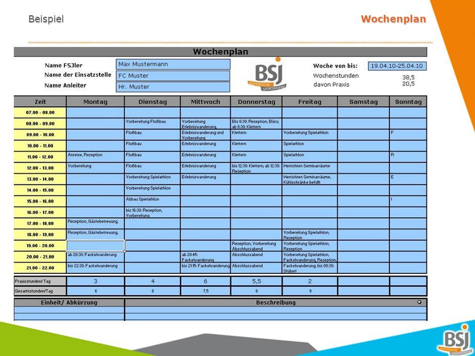 Beispiel Wochenplan 7