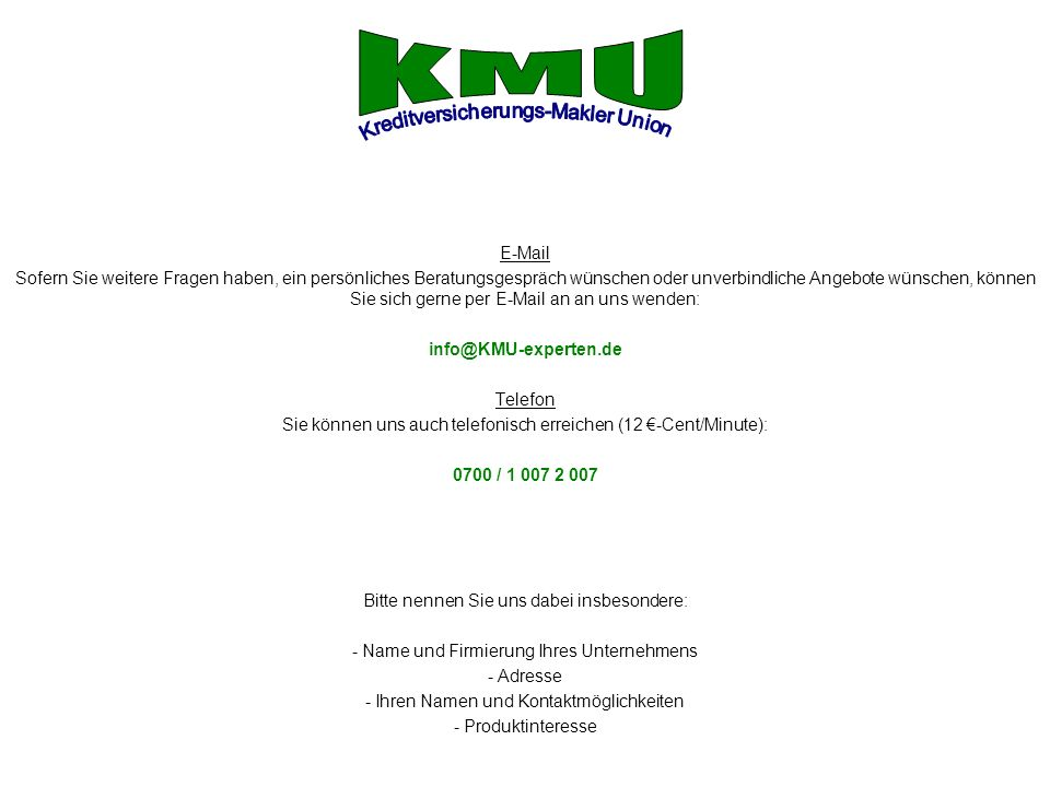 KMU Kreditversicherungs-Makler Union E-Mail
