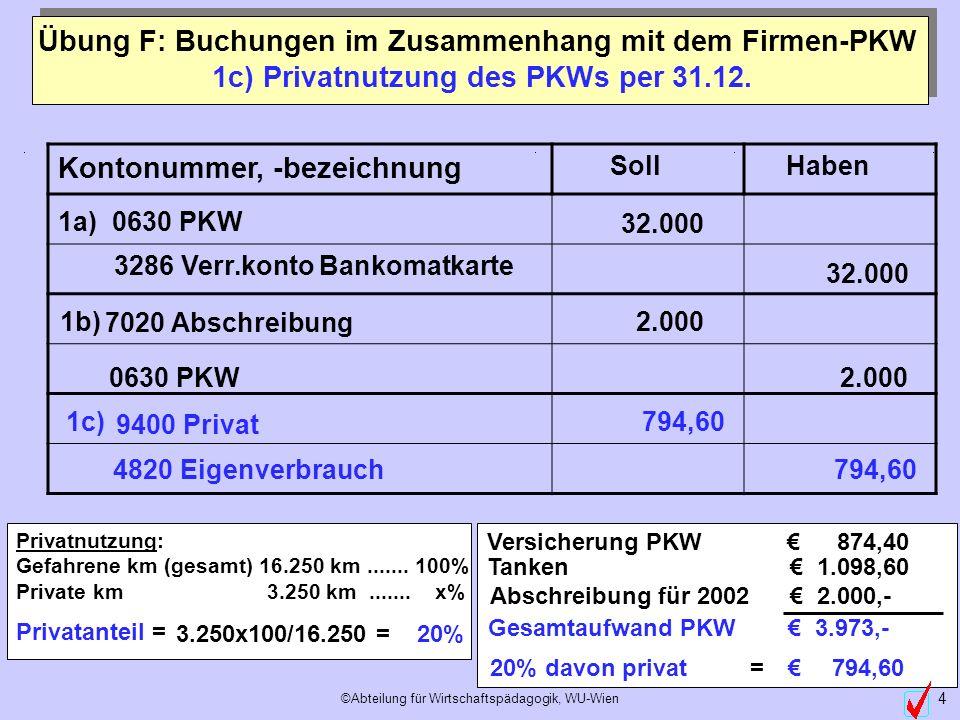 1c) Privatnutzung des PKWs per 31.12.