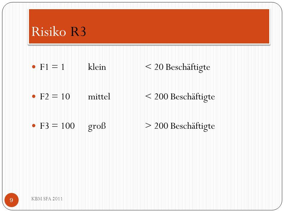 Risiko R3 F1 = 1 klein < 20 Beschäftigte
