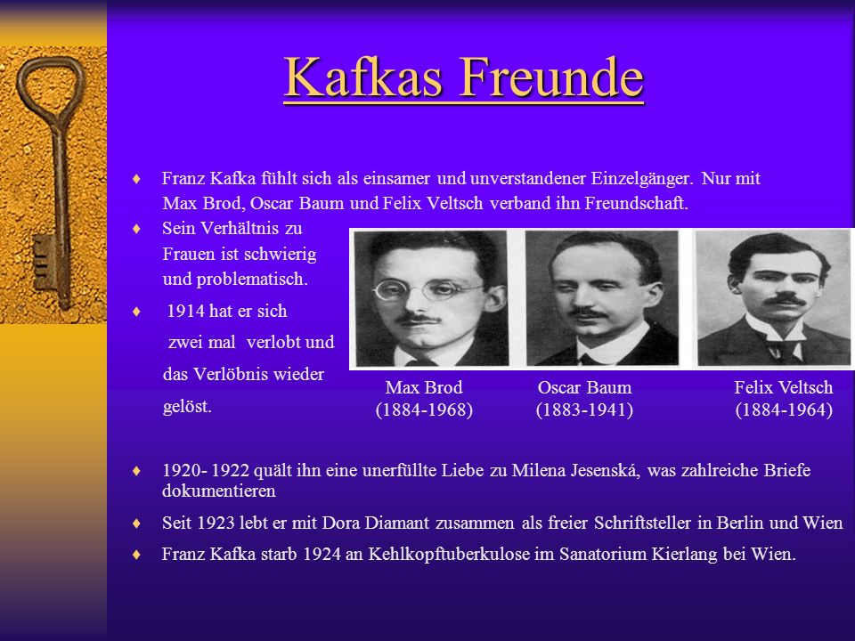 Kafkas Freunde Franz Kafka fühlt sich als einsamer und unverstandener Einzelgänger. Nur mit.
