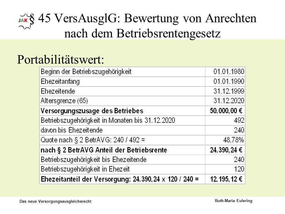 § 45 VersAusglG: Bewertung von Anrechten nach dem Betriebsrentengesetz