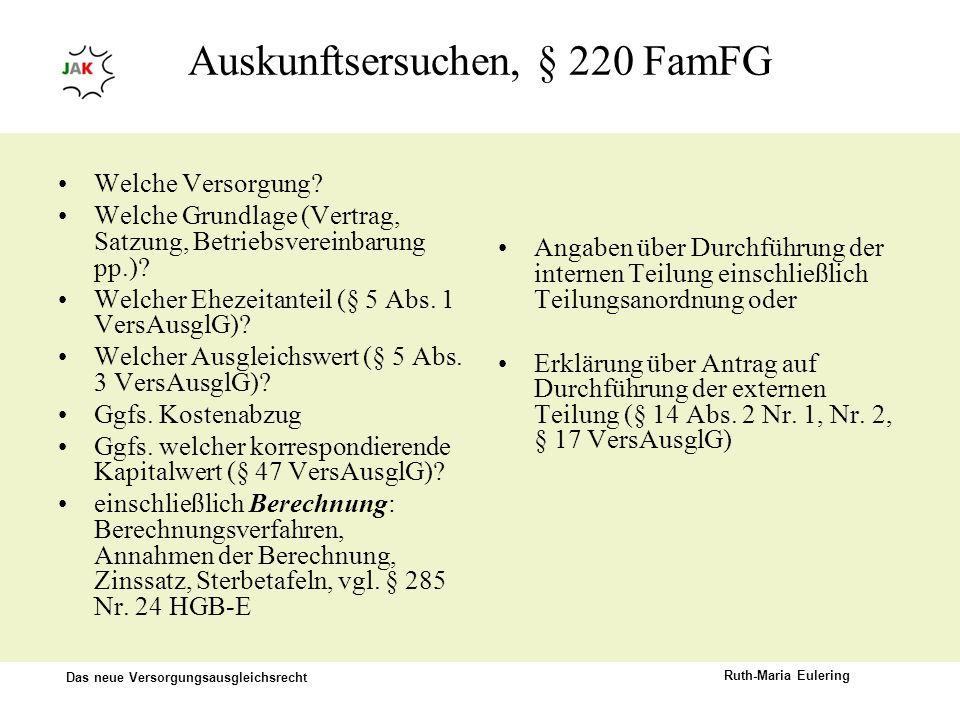 Auskunftsersuchen, § 220 FamFG