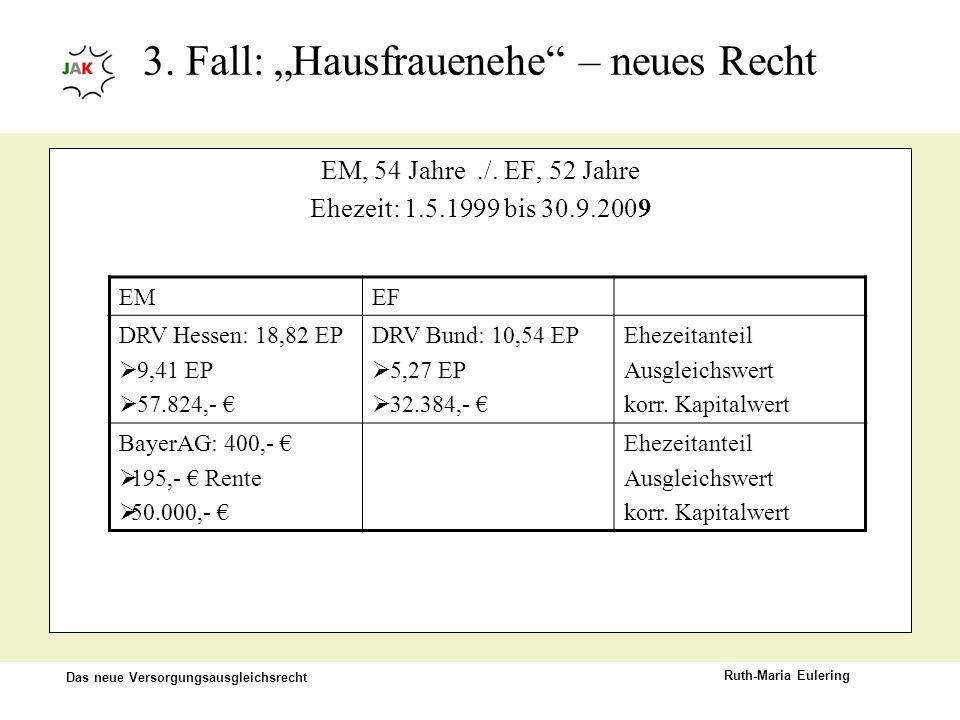 "3. Fall: ""Hausfrauenehe – neues Recht"