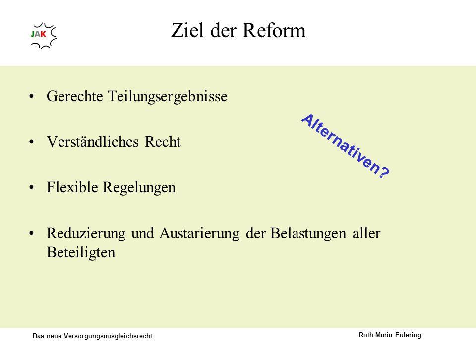 Ziel der Reform Gerechte Teilungsergebnisse Verständliches Recht