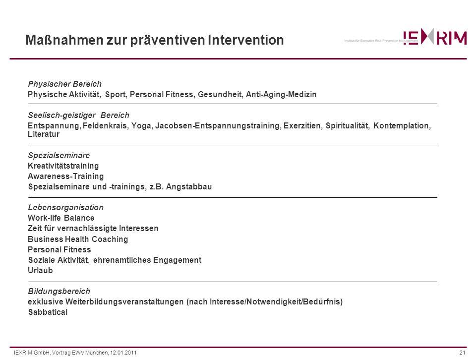Maßnahmen zur präventiven Intervention