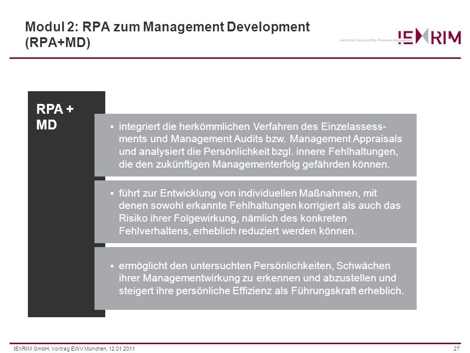 Modul 2: RPA zum Management Development (RPA+MD)