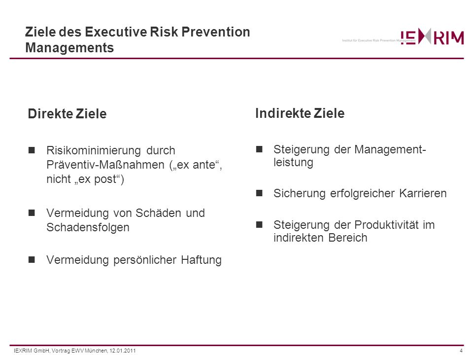 Ziele des Executive Risk Prevention Managements
