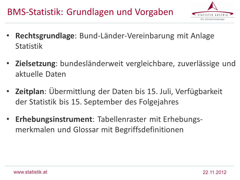 BMS-Statistik: Grundlagen und Vorgaben