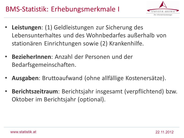 BMS-Statistik: Erhebungsmerkmale I