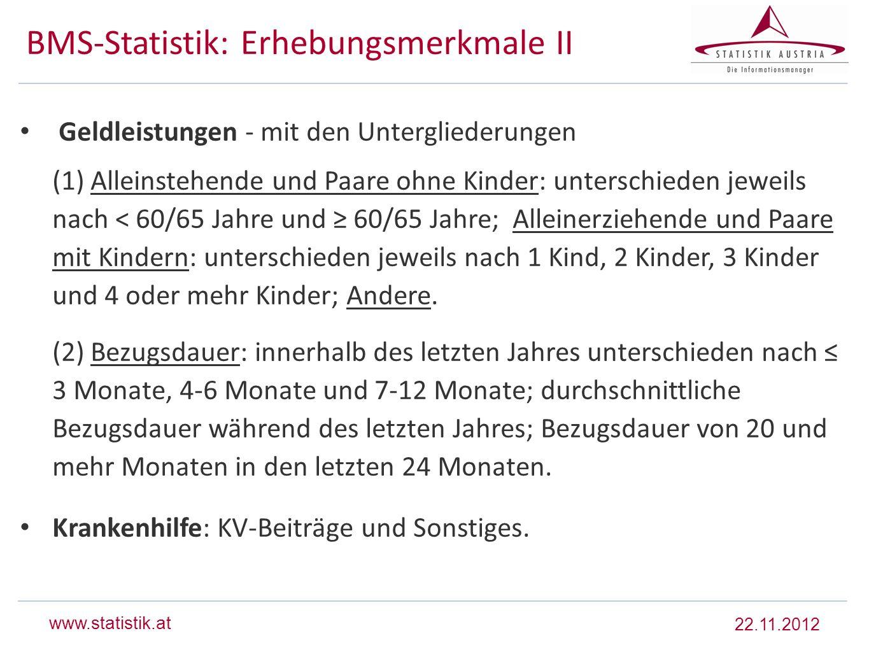 BMS-Statistik: Erhebungsmerkmale II