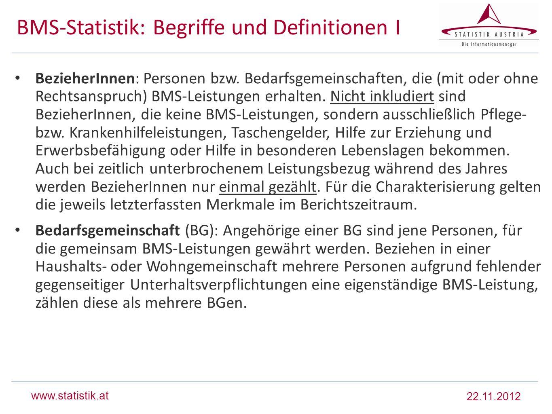 BMS-Statistik: Begriffe und Definitionen I