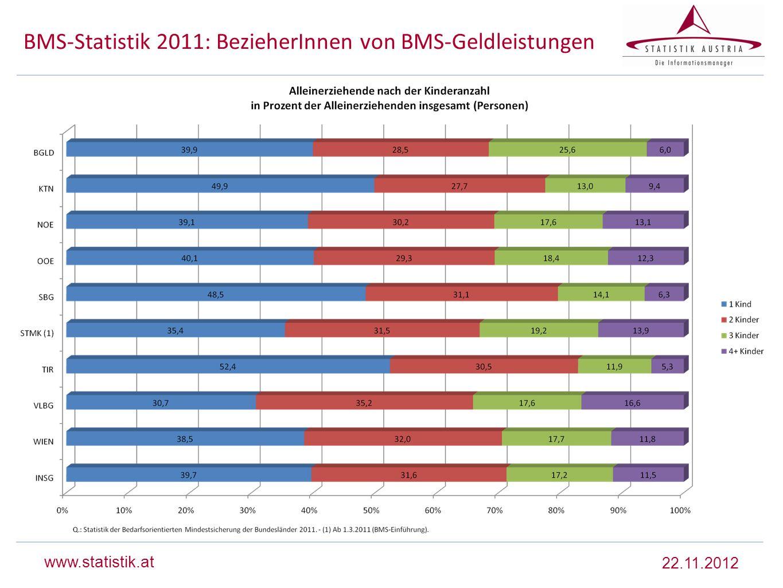 BMS-Statistik 2011: BezieherInnen von BMS-Geldleistungen