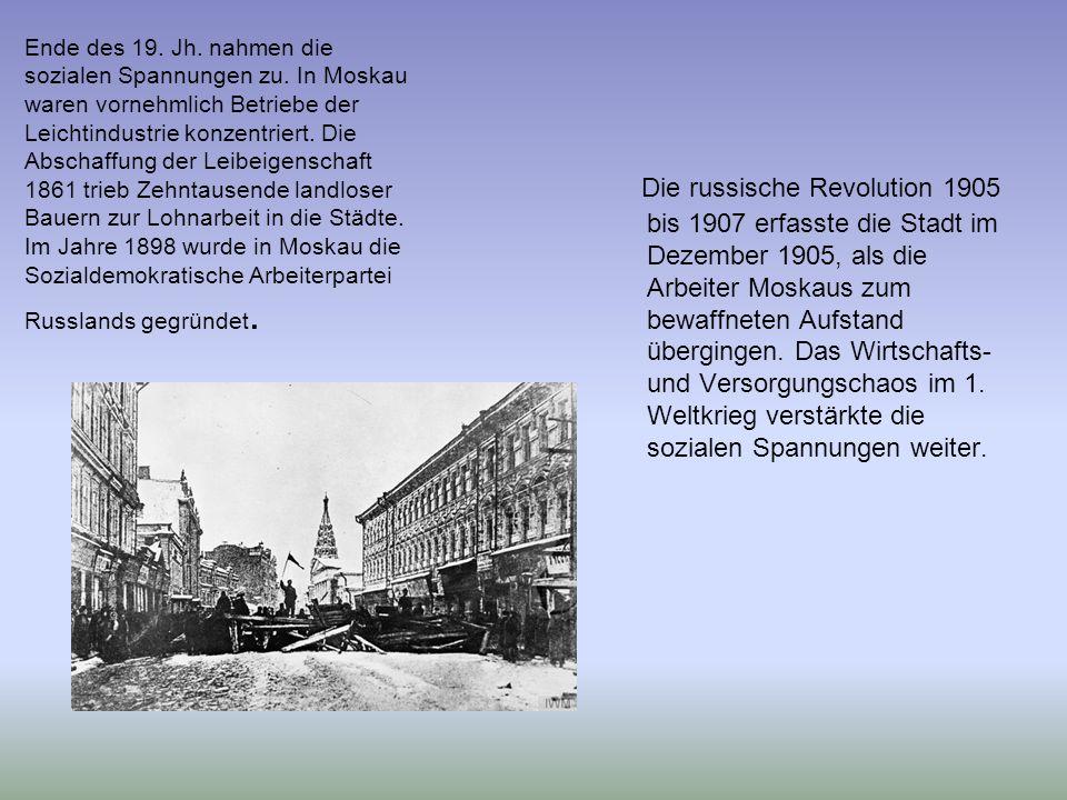 Ende des 19. Jh. nahmen die sozialen Spannungen zu