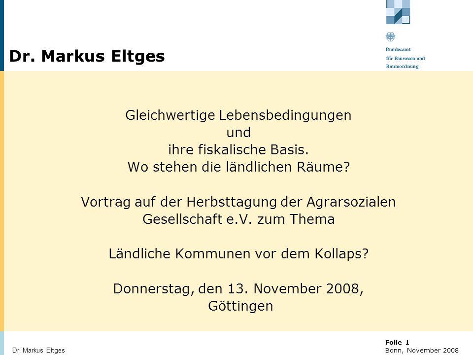 Dr. Markus Eltges Gleichwertige Lebensbedingungen und
