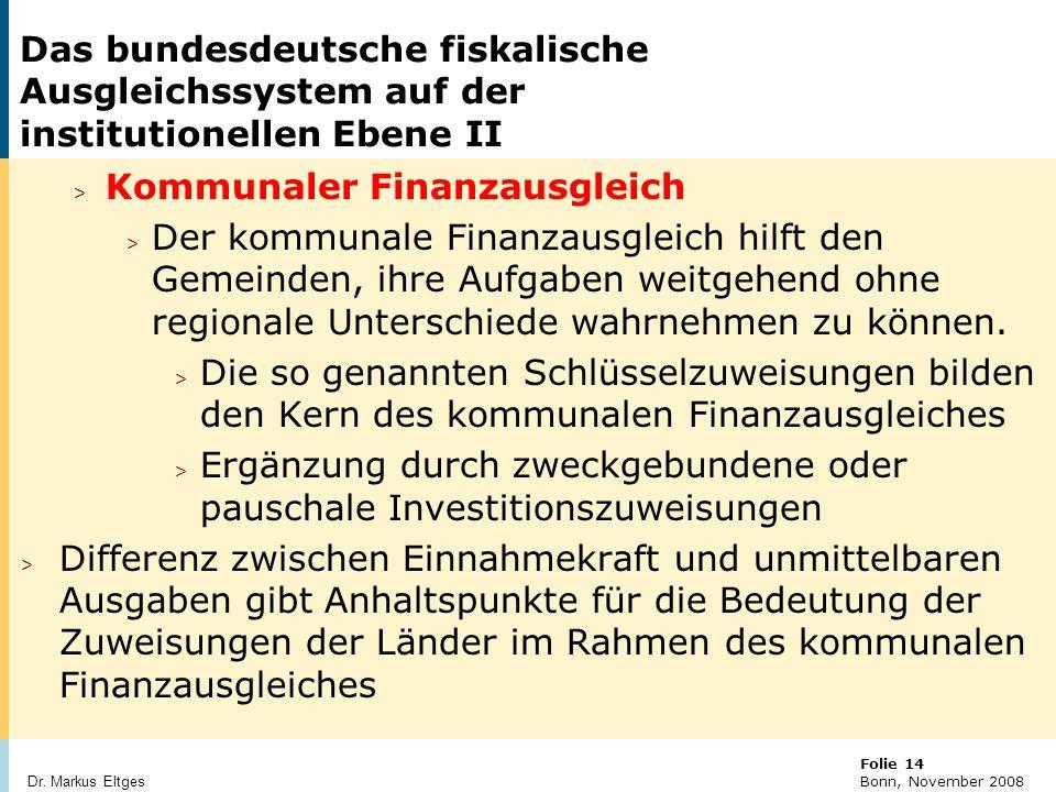 Das bundesdeutsche fiskalische Ausgleichssystem auf der institutionellen Ebene II
