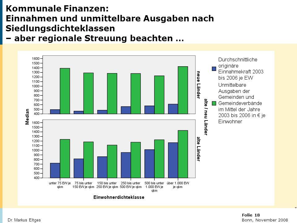 Kommunale Finanzen: Einnahmen und unmittelbare Ausgaben nach Siedlungsdichteklassen – aber regionale Streuung beachten …