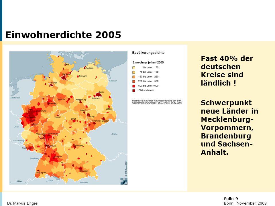 Einwohnerdichte 2005 Fast 40% der deutschen Kreise sind ländlich !