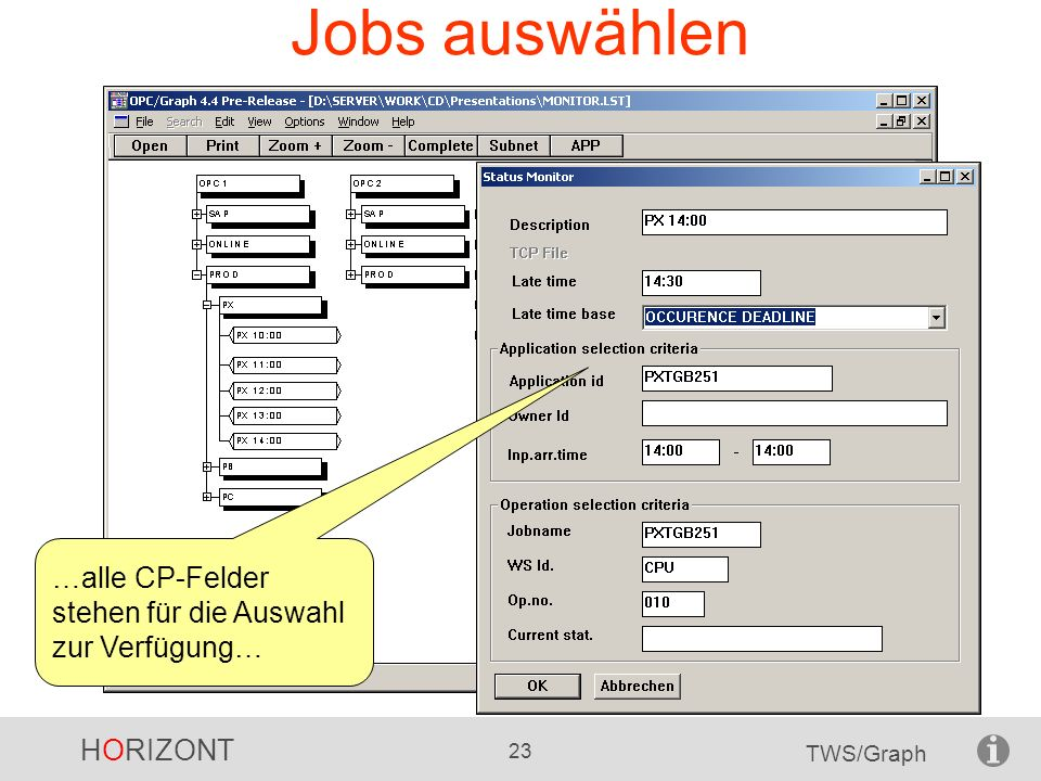 Jobs auswählen …alle CP-Felder stehen für die Auswahl zur Verfügung…
