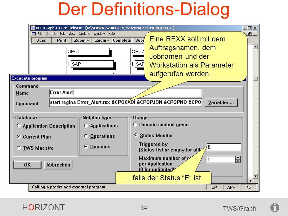 Der Definitions-Dialog