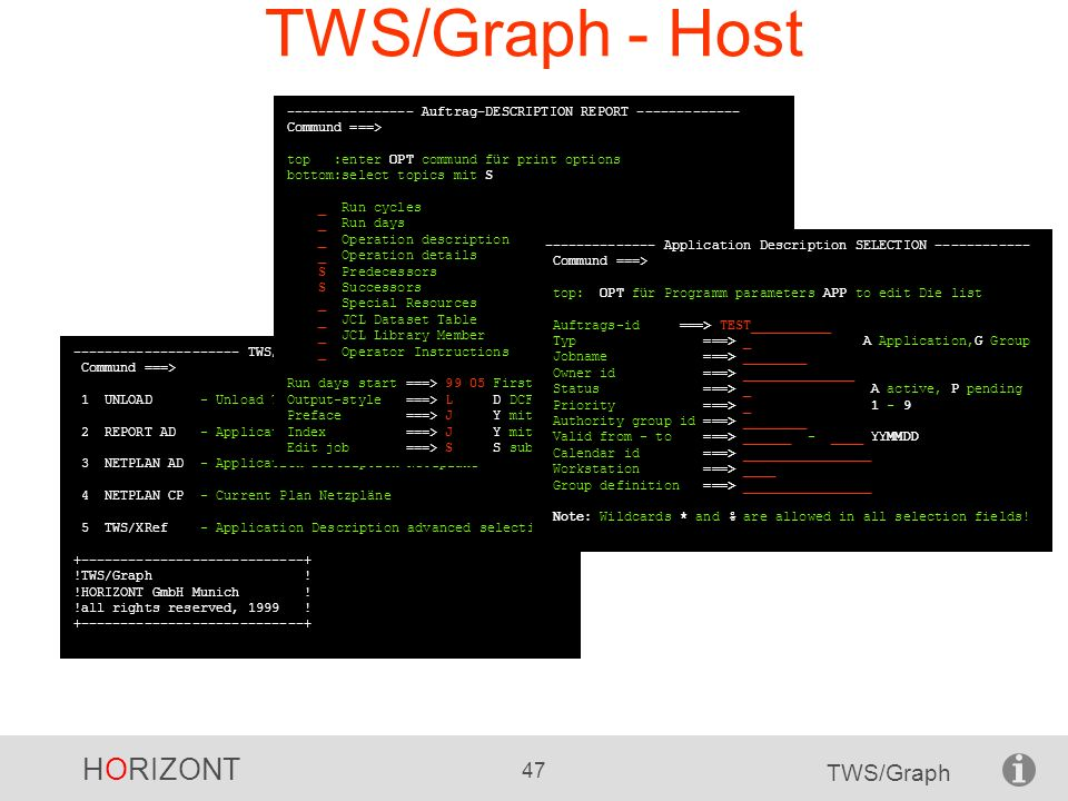 TWS/Graph - Host ---------------- Auftrag-DESCRIPTION REPORT ------------- Commund ===> top :enter OPT commund für print options.