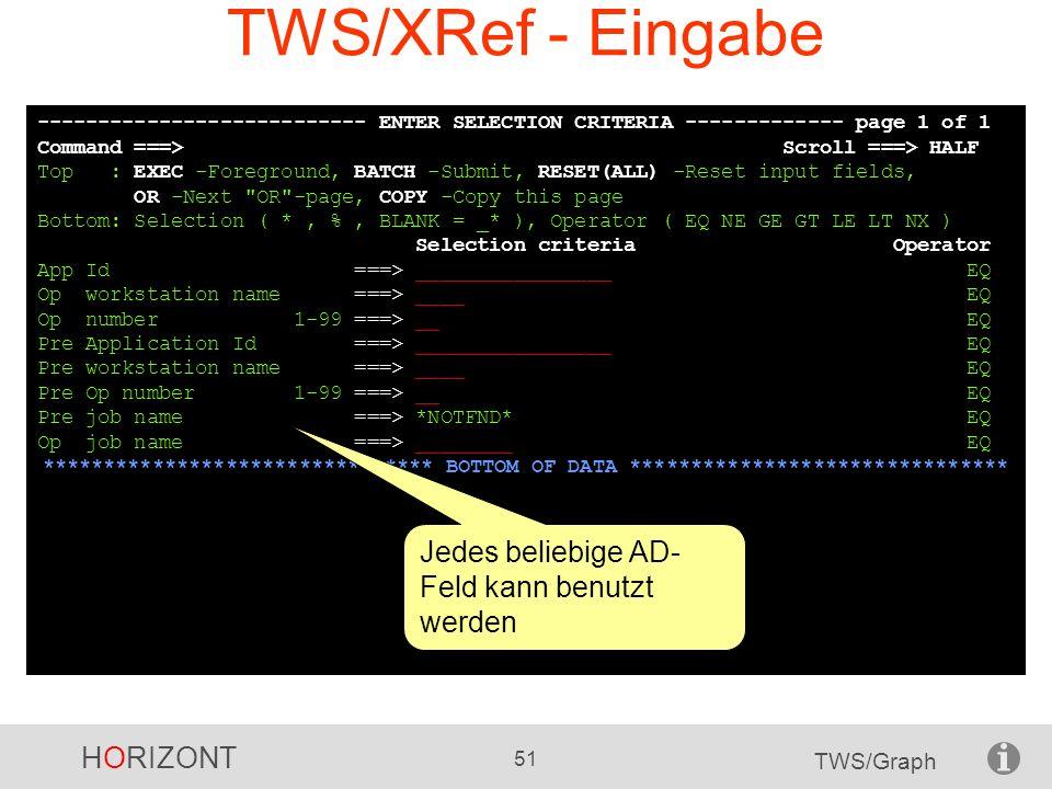 TWS/XRef - Eingabe Jedes beliebige AD-Feld kann benutzt werden