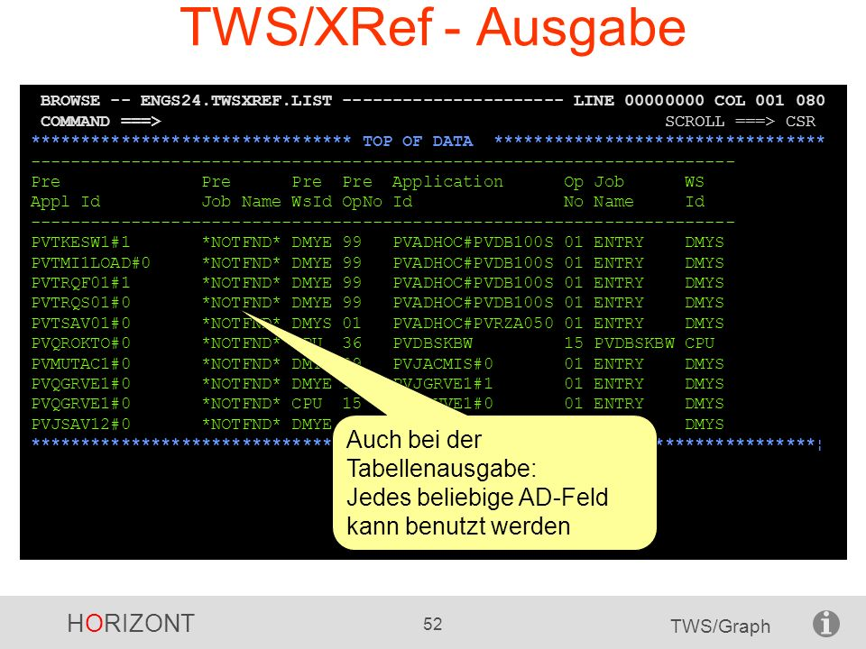 TWS/XRef - Ausgabe BROWSE -- ENGS24.TWSXREF.LIST ---------------------- LINE 00000000 COL 001 080.