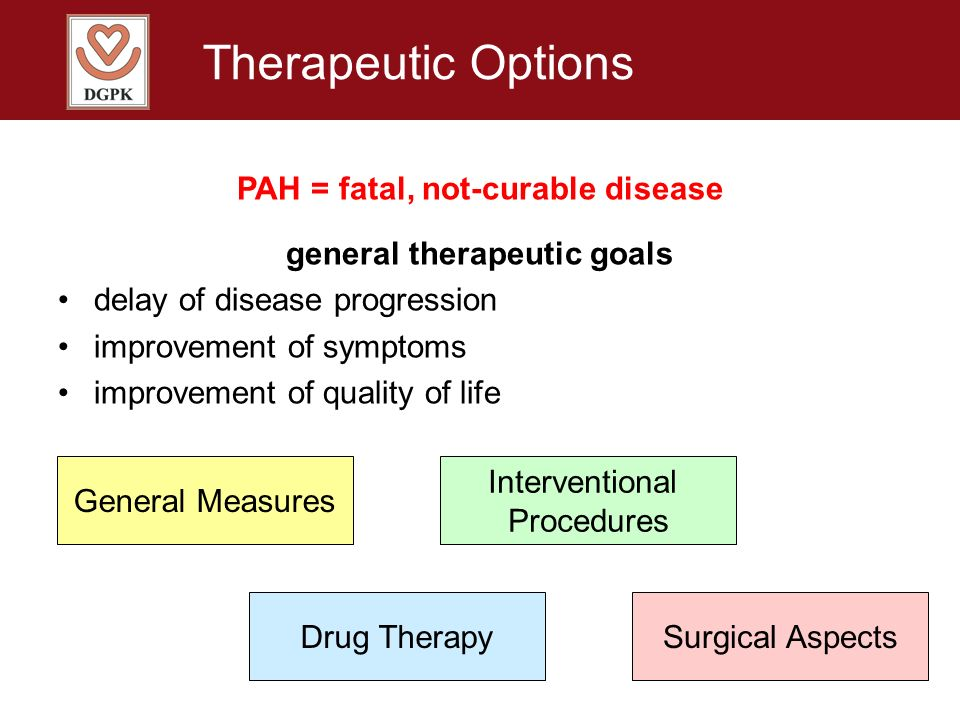 PAH = fatal, not-curable disease