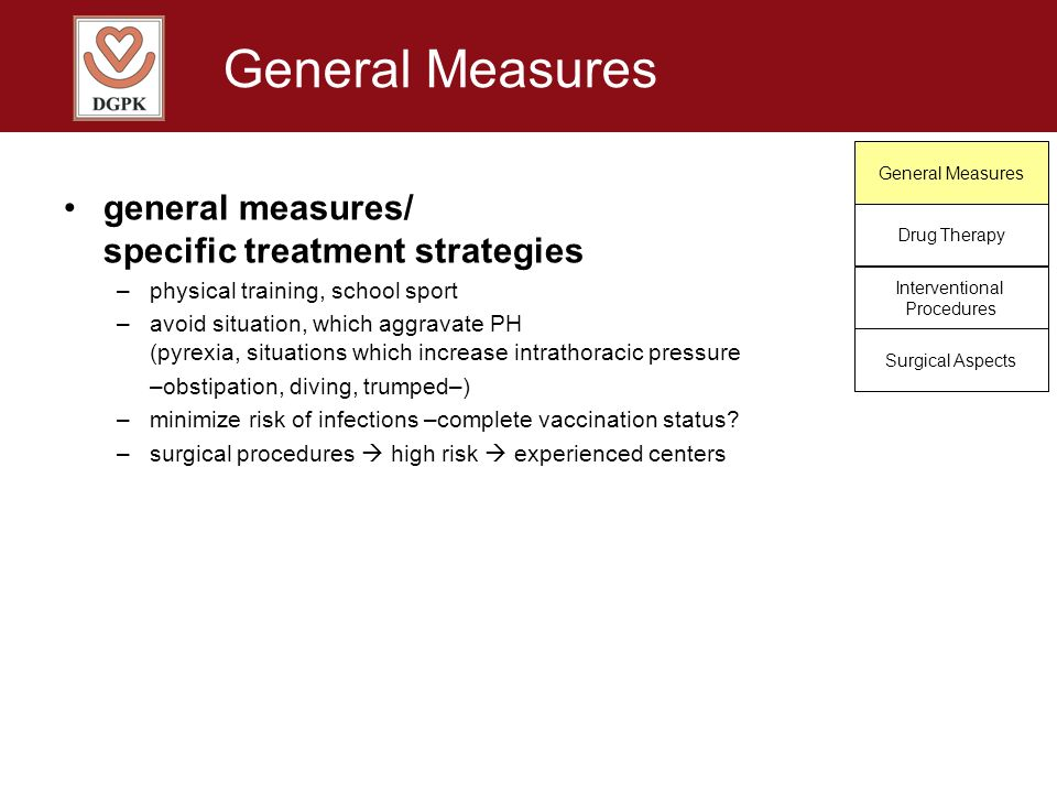 General Measures general measures/ specific treatment strategies