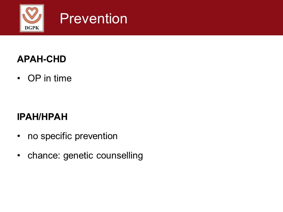 Prevention APAH-CHD OP in time IPAH/HPAH no specific prevention
