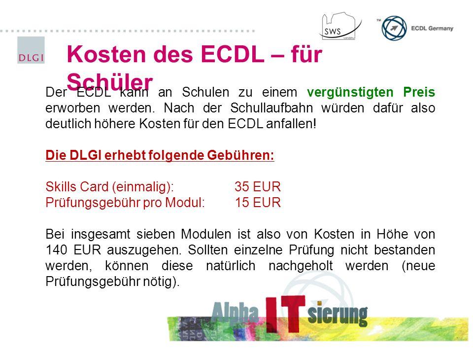 Kosten des ECDL – für Schüler