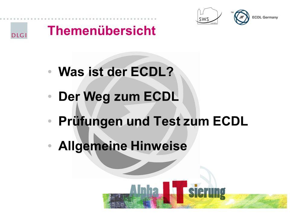 Prüfungen und Test zum ECDL Allgemeine Hinweise