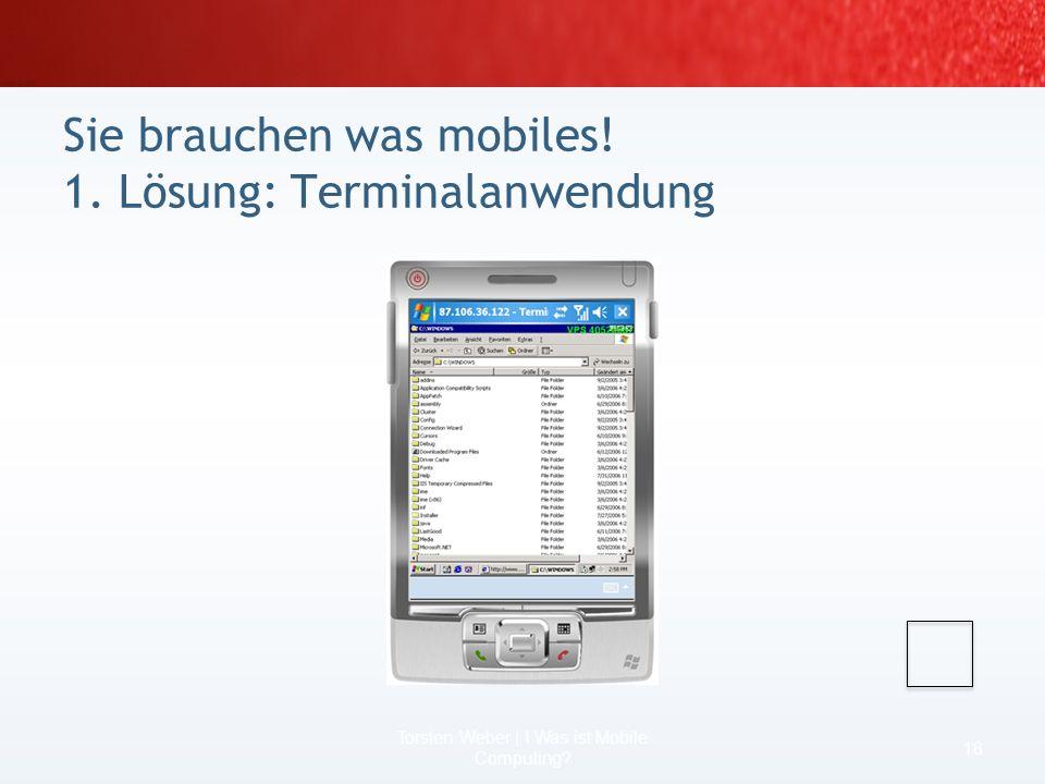 Sie brauchen was mobiles! 1. Lösung: Terminalanwendung